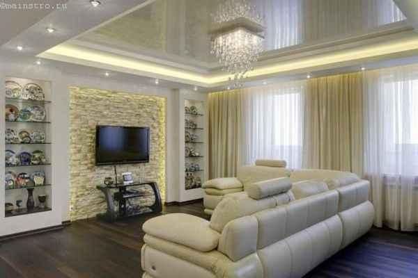 Дизайн натяжного потолка со светодиодной подсветкой и люстрой