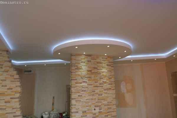 Матовый белый натяжной потолок со светодиодной подсветкой по периметру