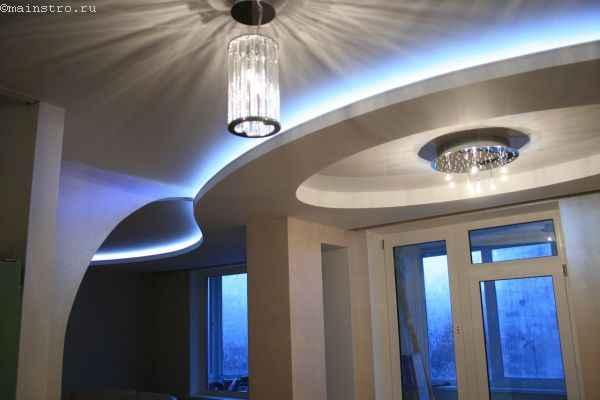 Дизайн натяжного потолка со светодиодной подсветкой - фото