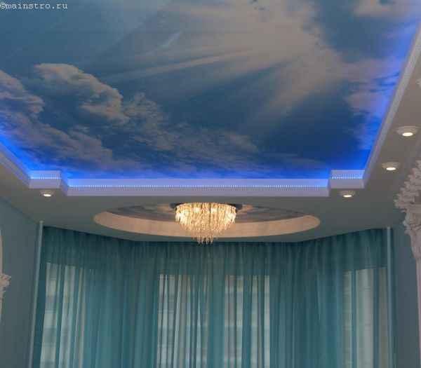 """Натяжной потолок """"небо с облаками"""" со светодиодной подсветкой"""