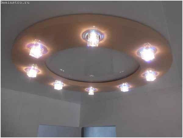 Конструкция натяжного потолка из ПВХ со светильниками