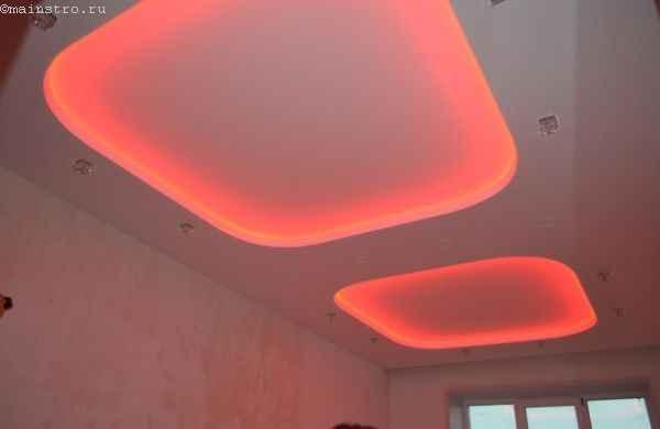 Натяжные потолки с закарнизной подсветкой