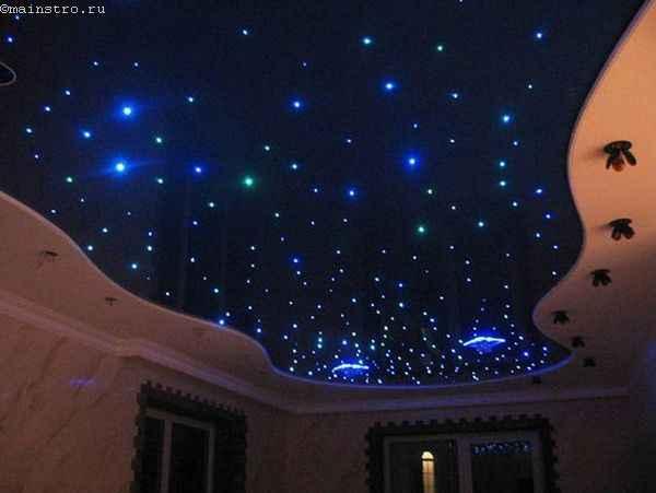 На фото натяжные потолки с подсветкой «звёздное небо»