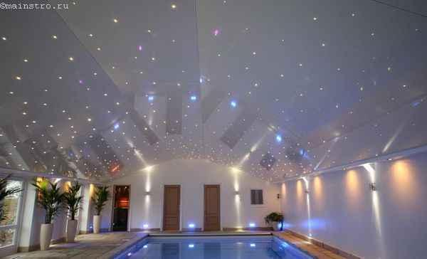Натяжные потолки со «звёздным небом» в бассейне