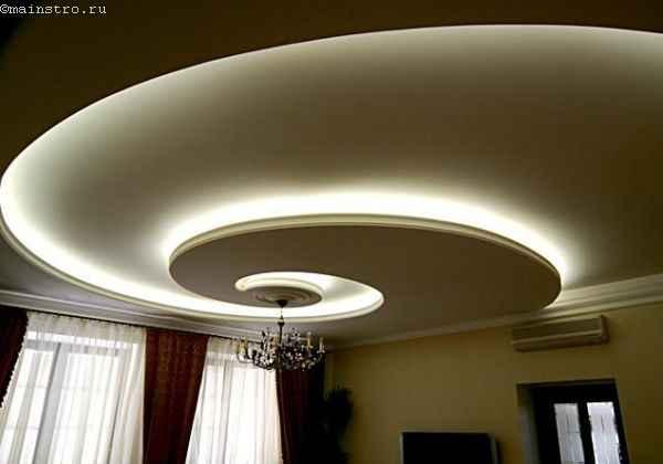 На фото натяжные потолки с подсветкой из скрытого короба