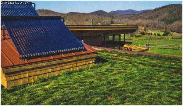 Землянка или подземный дом с солнечными коллекторами