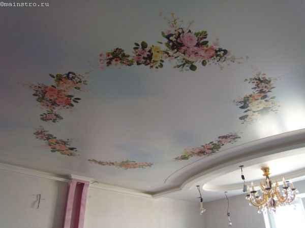 Сложные натяжные потолки с печатью на полотне