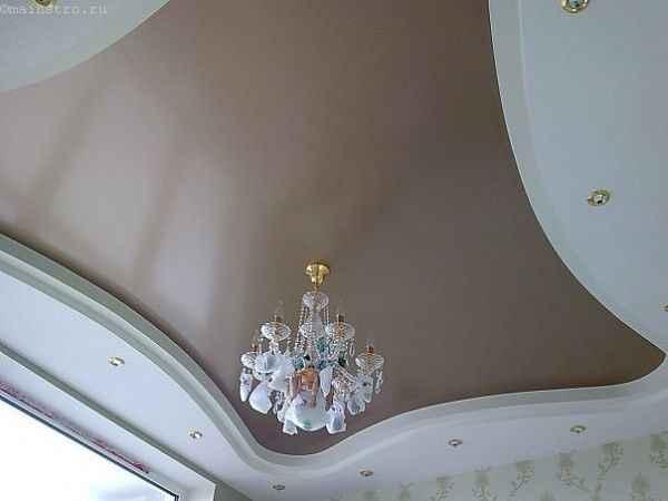 Многоуровневые сатиновые натяжные потолки фото