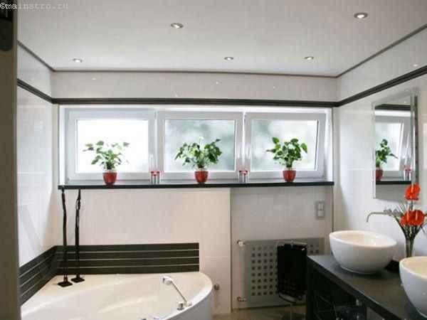 Натяжные потолки в ванной фото интерьера