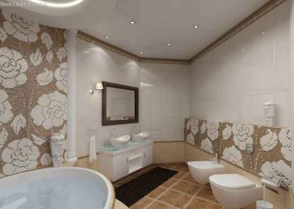 Белые многоуровневые натяжные потолки в ванной фото