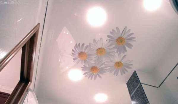 Натяжные потолки с изображением в ванной фото