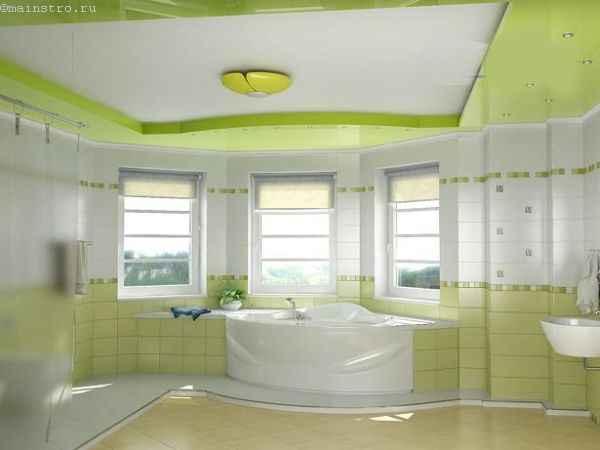 Натяжные потолки в ванной: фото с люстрой