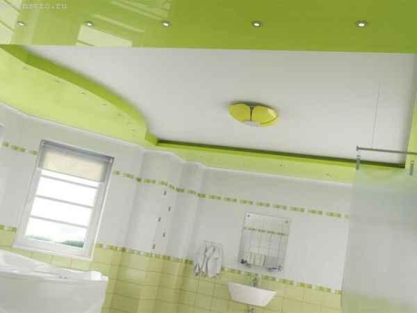 Многоуровневые натяжные потолки в ванной