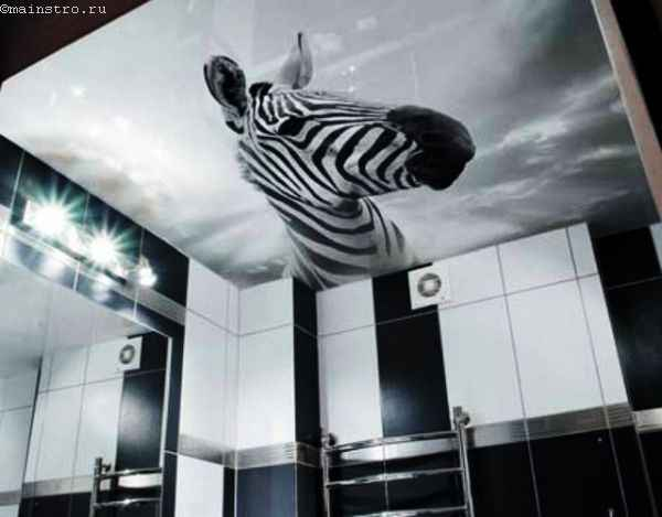 Натяжные потолки в ванной из полотна с фотопечатью