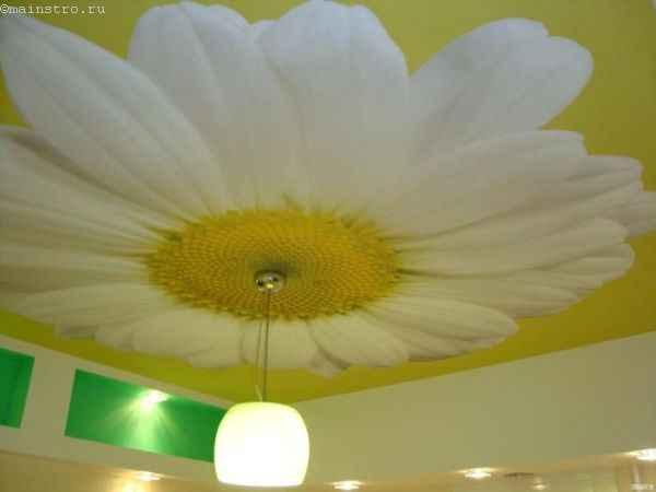 Тканевые натяжные потолки с фотопечатью и люстрой по центру