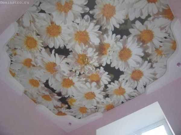 Бесшовные тканевые натяжные потолки фото