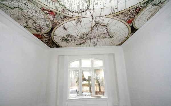 Тканевые натяжные потолки: фото кабинета
