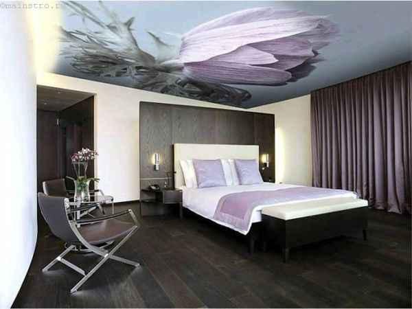Фото: тканевые натяжные потолки в интерьере спальни