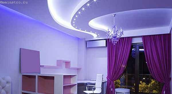 Многоуровневые натяжные потолки с неоновой подсветкой