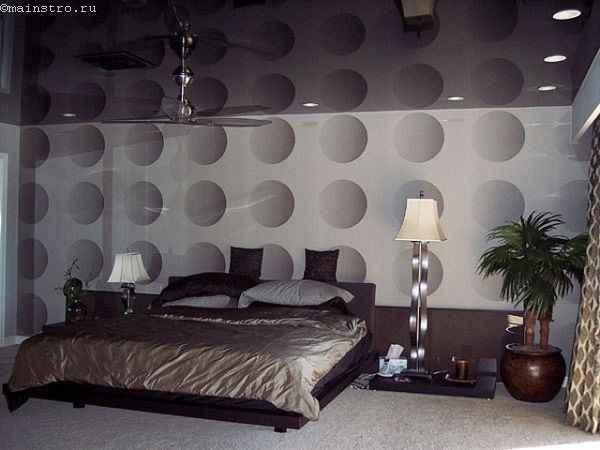 Черные одноуровневые натяжные потолки в спальне