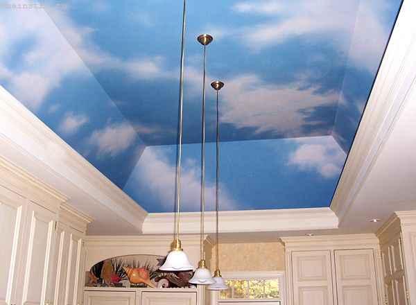 Многоуровневые натяжные потолки «небо с облаками» фото
