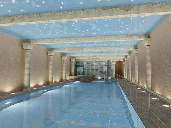 Фото натяжные потолки «звездное небо с облаками» в бассейне