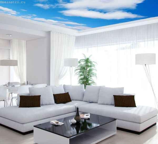Натяжные потолки «небо с облаками»: фото интерьера