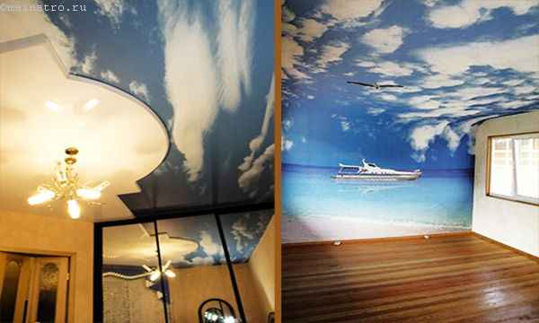 Оригинальные натяжные потолки «небо с облаками» фото