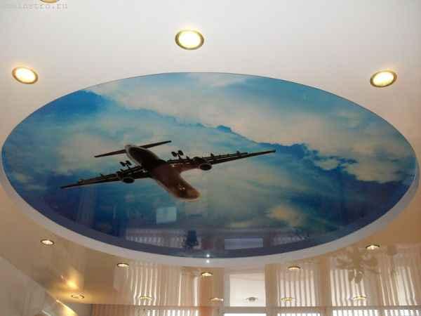 Двухуровневые натяжные потолки «небо с облаками»