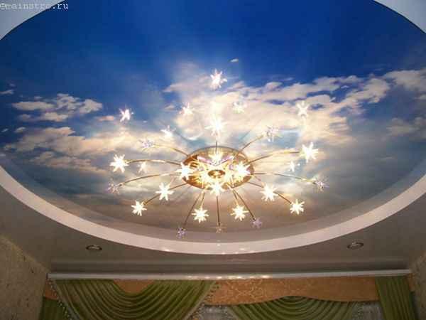 Натяжные потолки «небо с облаками»: фото с люстрой