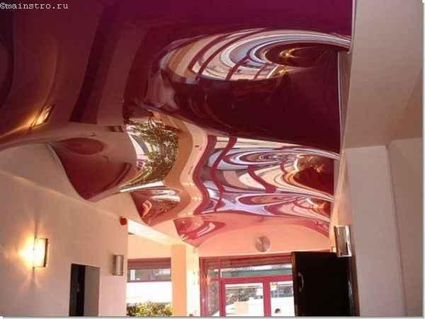 На фото натяжные потолки 3Д: волна