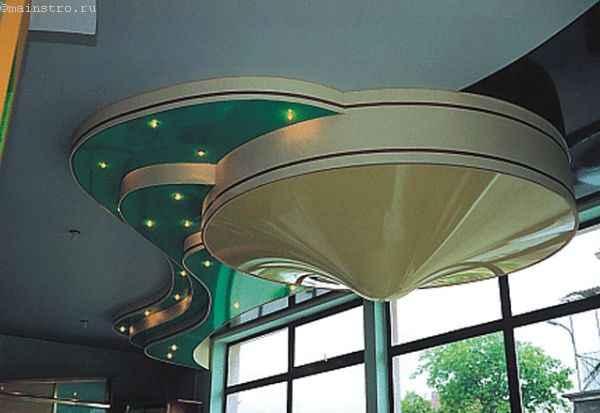 На фото натяжные потолки 3Д: волна и конус