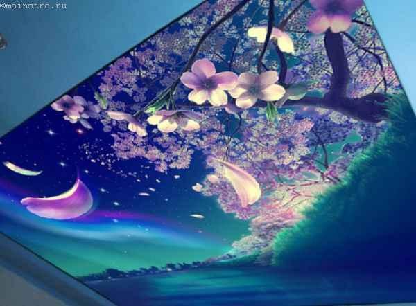 Фото: натяжные потолки 3Д с печатью сакуры
