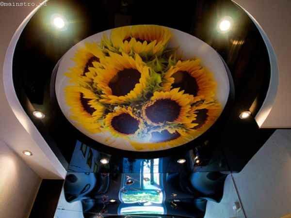 Сложные натяжные потолки с 3Д фото