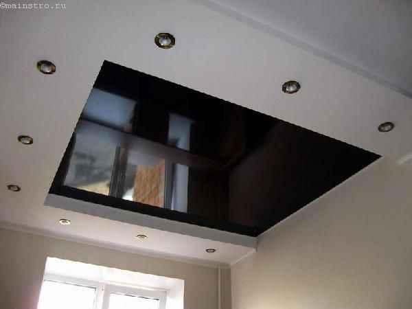 Многоуровневые натяжные потолки черного цвета