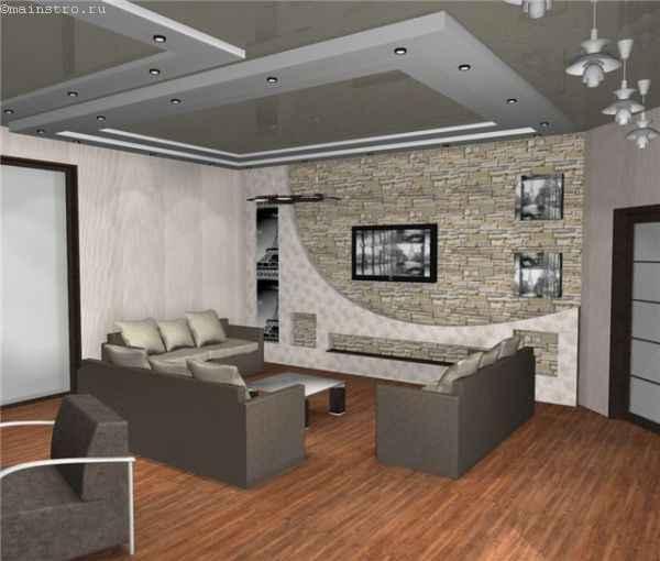 Фото интерьера с натяжными потолками серого цвета
