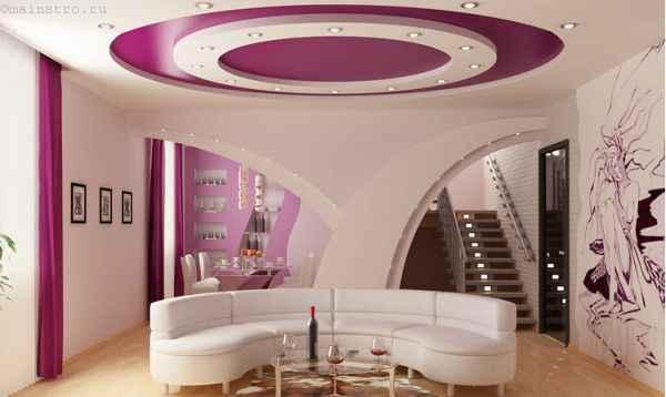 Фото сочетания розового и белого цвета в натяжных потолках