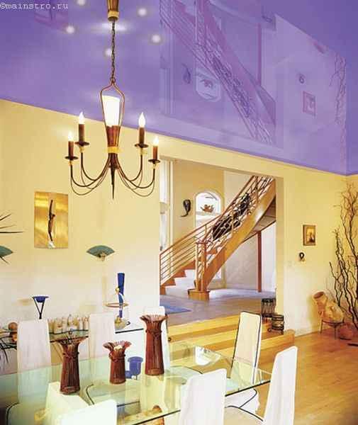 Фото натяжного потолка фиолетового цвета