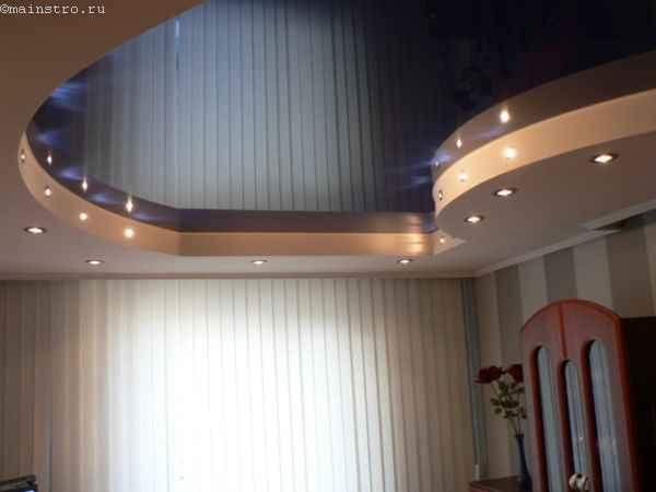 Фото глянцевыех  2-х уровневых натяжных потолков