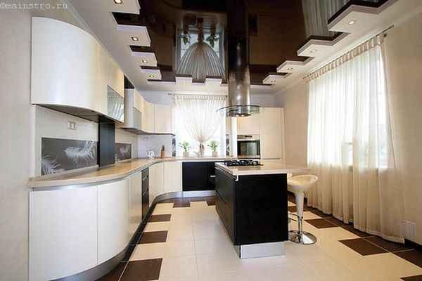 На фото чёрно-белые натяжные потолки на кухне