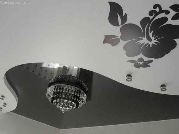 На фото чёрно-белые натяжные потолки с изображением