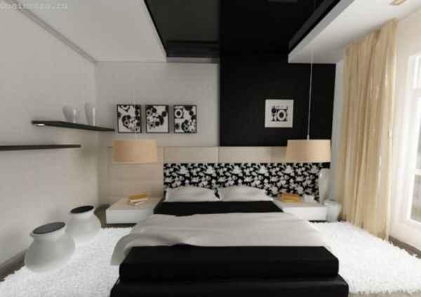 На фото чёрно-белые натяжные потолки в интерьере