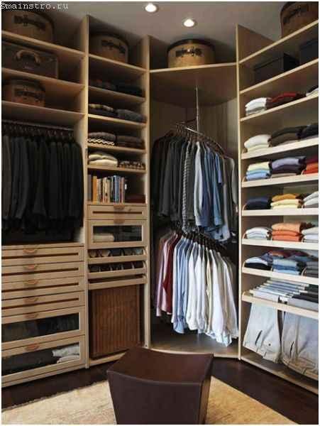 Гардеробная комната с круговой штангой