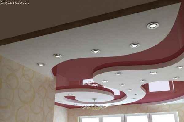 Многоуровневые натяжные потолки с подсветкой