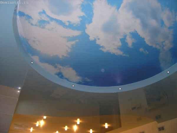 Многоуровневые натяжные потолки с облаками