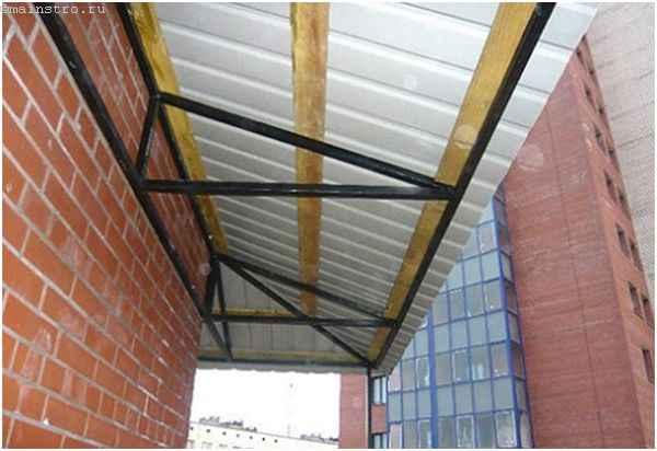Ремонт балкона - фото обрешетки для крыши