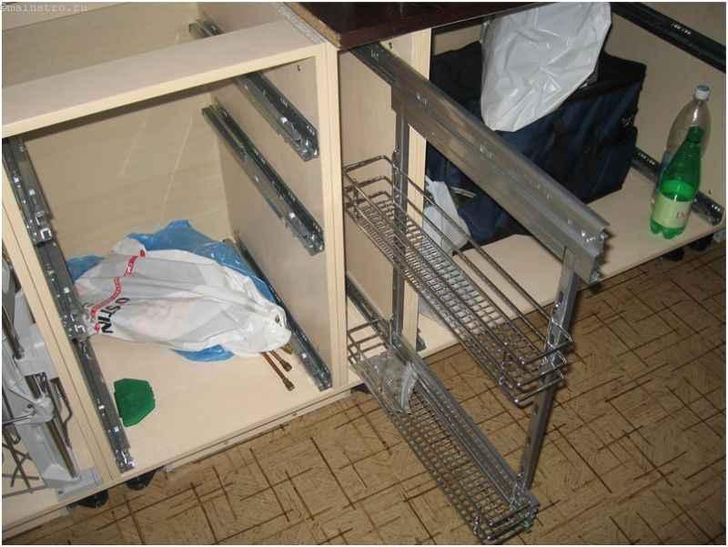 Установка системы карго на кухонной мебели