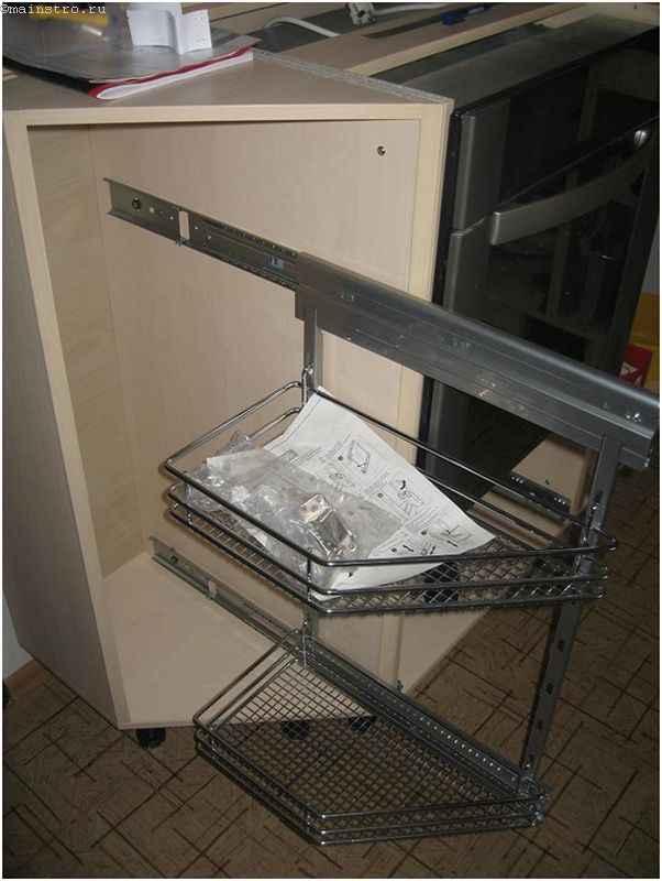 Установка фурнитуры на мебель для кухни