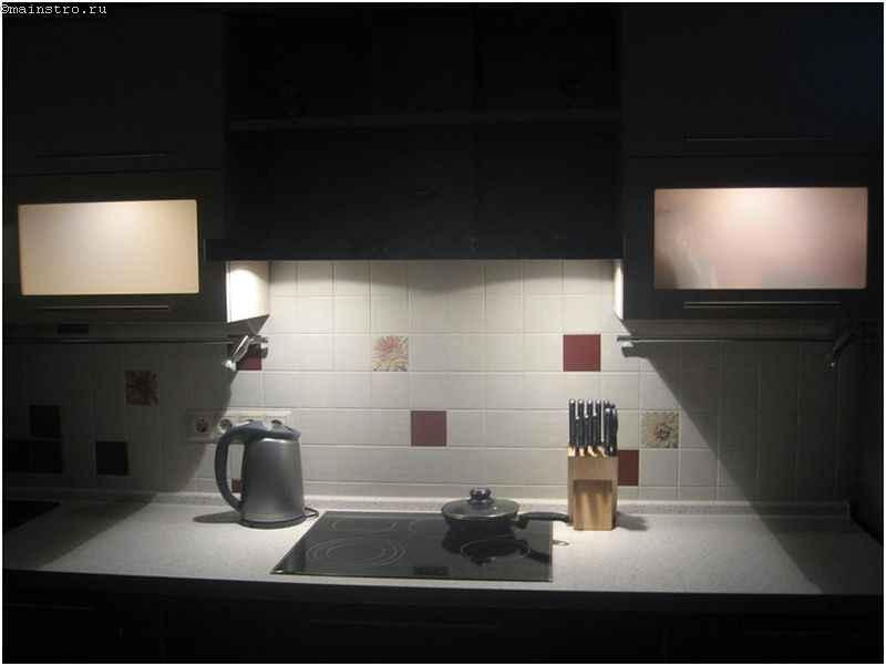 Мебель для кухни с подсветкой рабочей зоны
